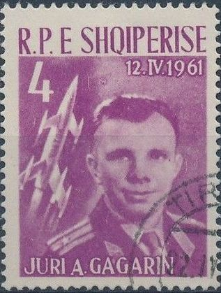 Albania 1962 1st manned space flight - Yuri Gagarin b.jpg