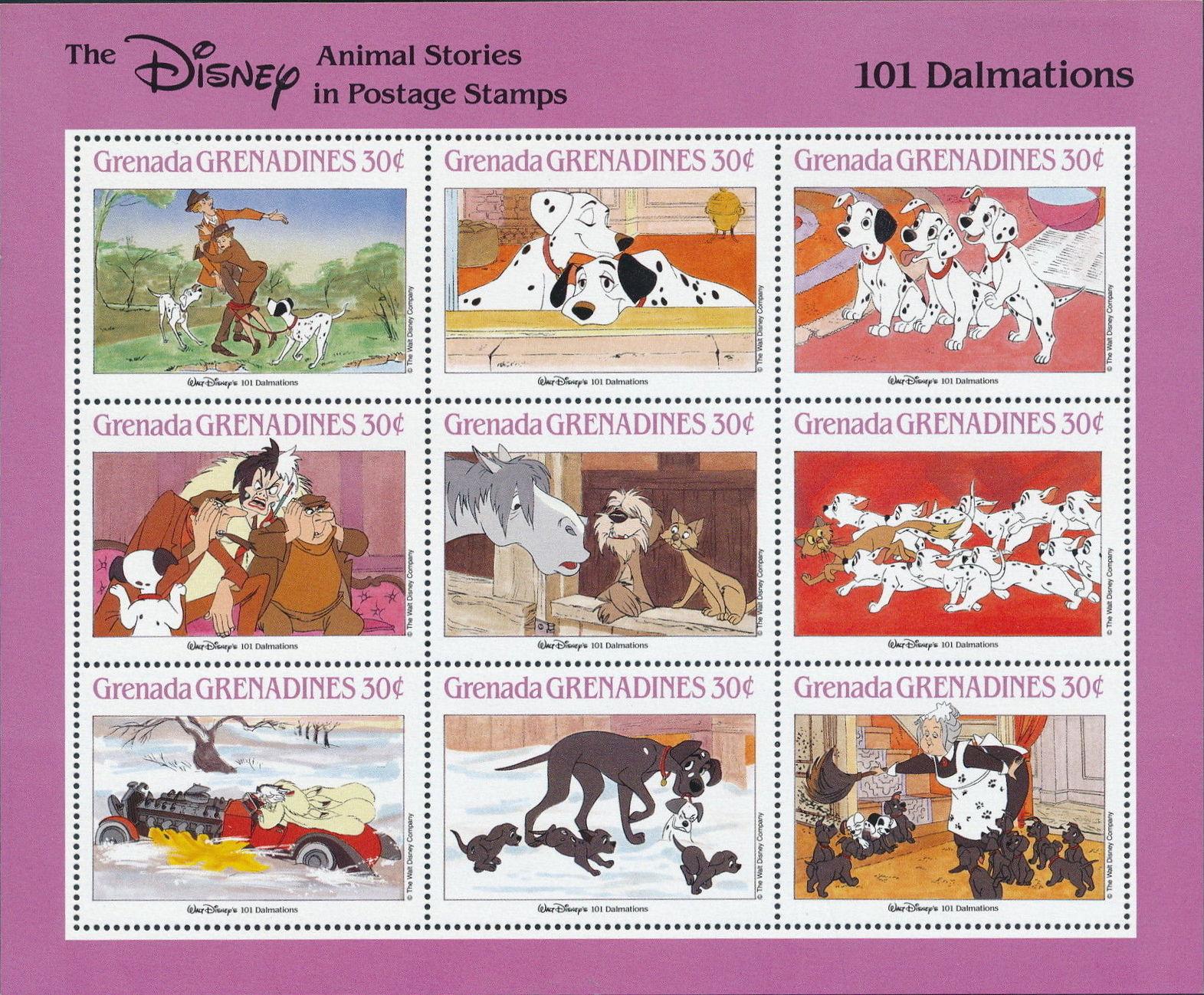 Grenada Grenadines 1988 The Disney Animal Stories in Postage Stamps SSc.jpg