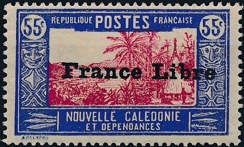 "New Caledonia 1941 Definitives of 1928 Overprinted in black ""France Libre"" o.jpg"