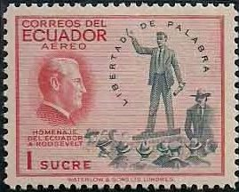 """Ecuador 1948 Franklin D. Roosevelt and Two of """"Four Freedoms"""" - Air Post Stamps b.jpg"""