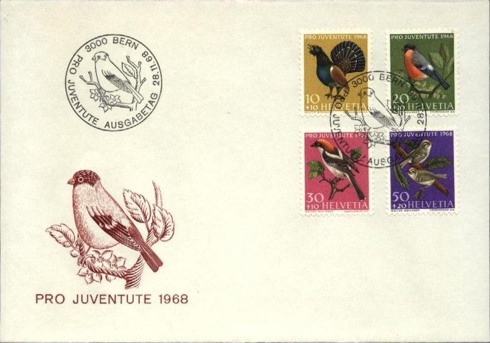 Switzerland 1968 PRO JUVENTUTE - Birds FDCa.jpg
