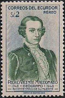 Ecuador 1948 200th Anniversary of the Death of Pedro Vicente Maldonado-Air Post Stamps d.jpg