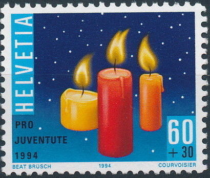 Switzerland 1994 PRO JUVENTUTE - Christmas Candles and Mushrooms