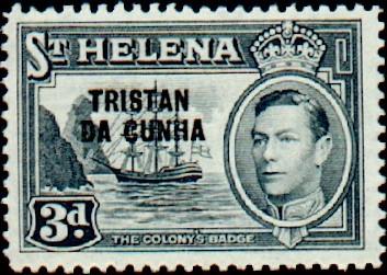 Tristan da Cunha 1952 Stamps of St. Helena Overprinted e.jpg