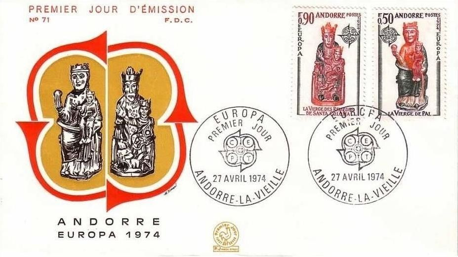 Andorra-French 1974 - Europa - Sculptures FDCd.jpg