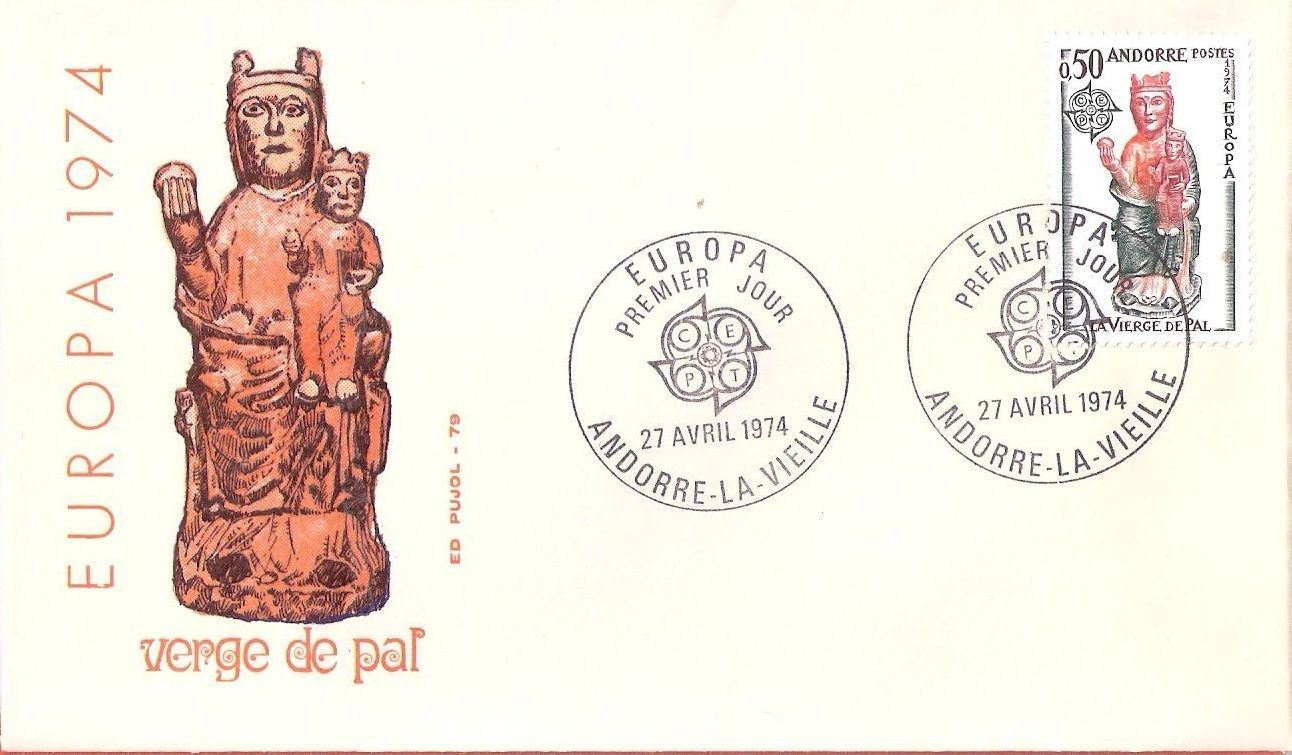Andorra-French 1974 - Europa - Sculptures FDCa.jpg