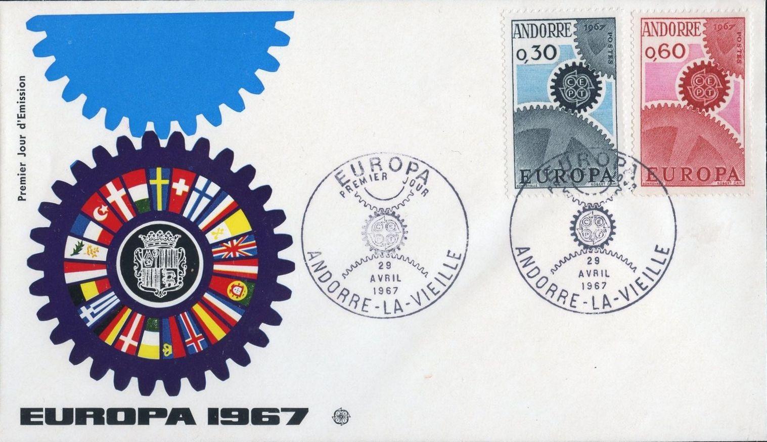 Andorra-French 1967 Europa FDCc.jpg