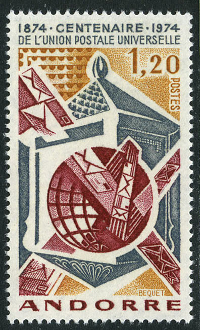 Andorra-French 1974 Centenary of Universal Postal Union