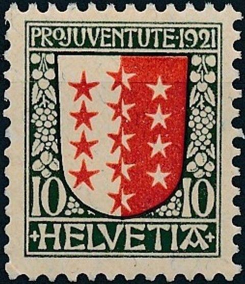 Switzerland 1921 PRO JUVENTUTE - Coat of Arms