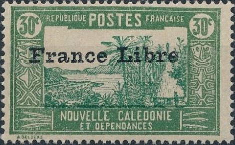"New Caledonia 1941 Definitives of 1928 Overprinted in black ""France Libre"" j.jpg"