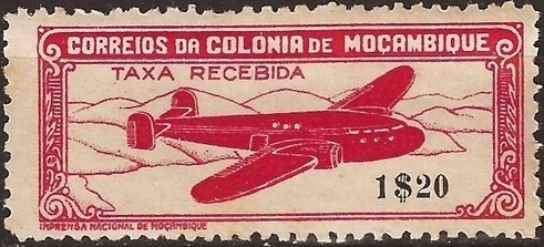 Mozambique 1946 Airplane over Mountainous Region