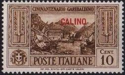 Italy (Aegean Islands)-Calino 1932 50th Anniversary of the Death of Giuseppe Garibaldi