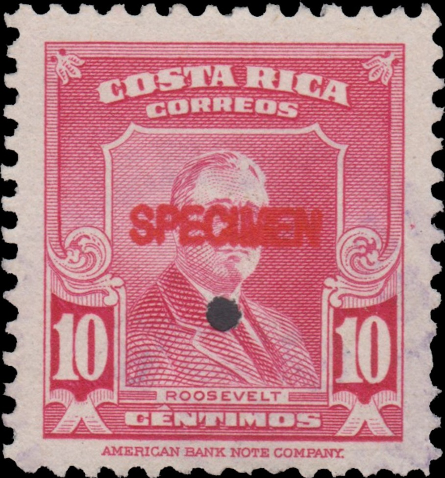 Costa Rica 1947 Franklin D. Roosevelt - Regular Stamps SPECb.jpg