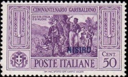 Italy (Aegean Islands)-Nisiro 1932 50th Anniversary of the Death of Giuseppe Garibaldi e.jpg