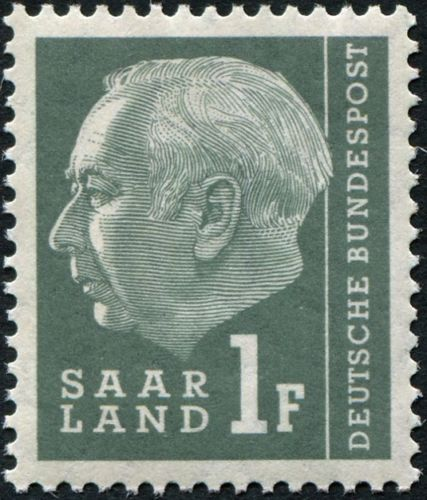 Saar 1957 President Theodor Heuss (with F)