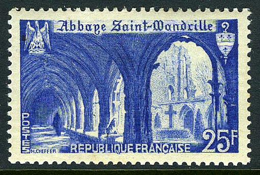 France 1949 Cloister of St. Wandrille Abbey