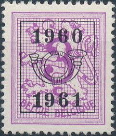 Belgium 1960 Heraldic Lion with Precanceled Number b.jpg