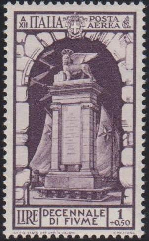 Italy 1934 10th Anniversary of Annexation of Fiume - Air Post Stamps d.jpg