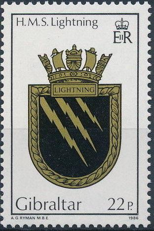 Gibraltar 1986 Royal Navy Crests 5th Group