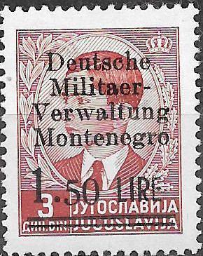 Montenegro 1943 Yugoslavia Stamps Surcharged under German Occupation c.jpg