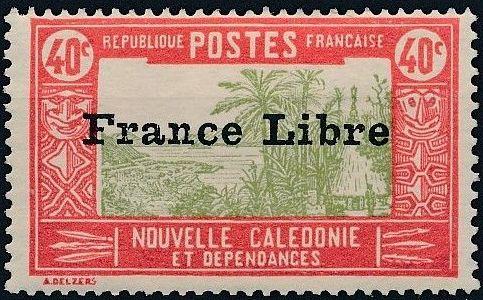 "New Caledonia 1941 Definitives of 1928 Overprinted in black ""France Libre"" l.jpg"
