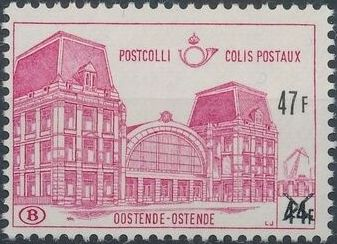 "Belgium 1971 Ostend Station Surcharged with New Value and ""X"" c.jpg"