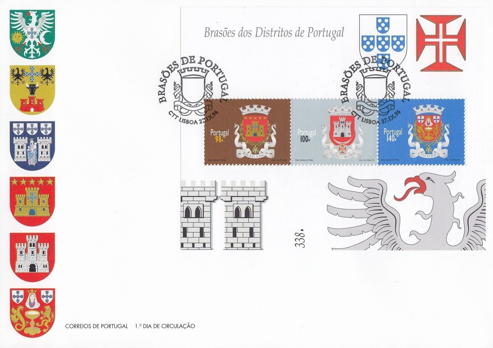 Portugal 1996 Arms of the Districts of Portugal (1st Group) FDCc.jpg