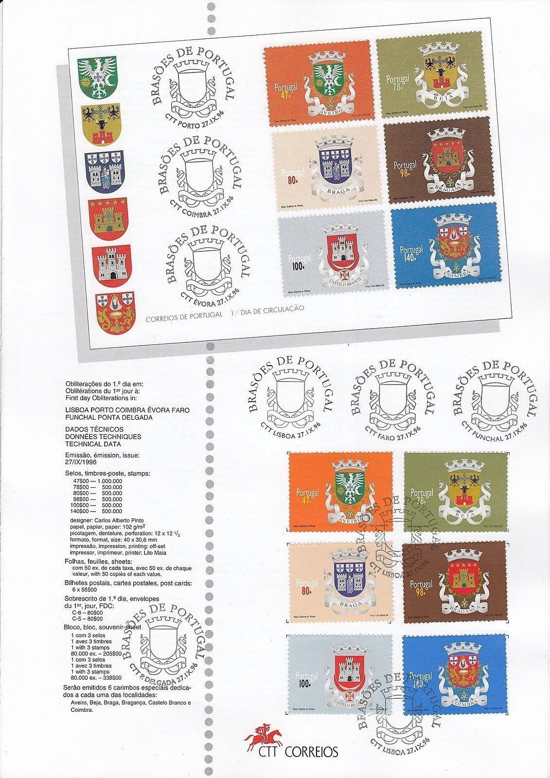 Portugal 1996 Arms of the Districts of Portugal (1st Group) IOPa.jpg