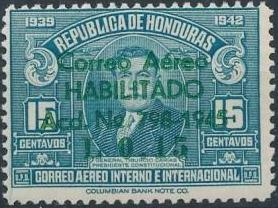 Honduras 1945 Air Post Stamps of 1937-1939 Surcharged e.jpg
