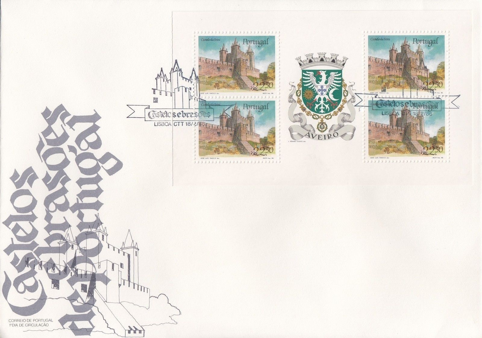 Portugal 1986 Castles and Arms (1st Group) FDCa.jpg
