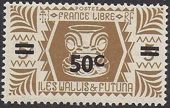 Wallis and Futuna 1946 Ivi Poo Bone Carving in Tiki Design Surcharged
