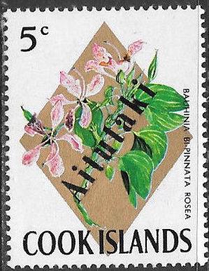 Aitutaki 1972 Flowers from Cook Islands Overprinted AITUTAKI e.jpg