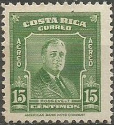 Costa Rica 1947 Franklin D. Roosevelt - Air Post Stamps a.jpg
