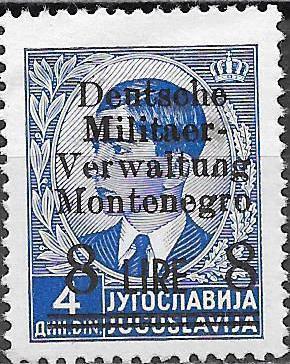 Montenegro 1943 Yugoslavia Stamps Surcharged under German Occupation i.jpg