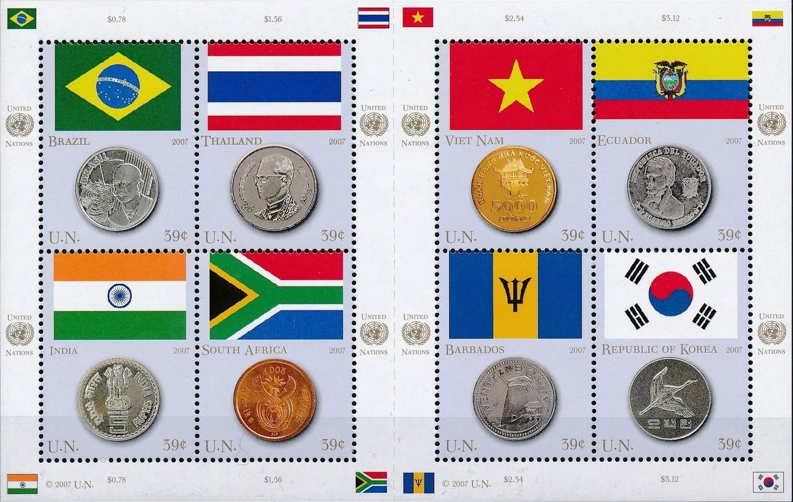 United Nations-New York 2007 Flags and Coins of the Member States