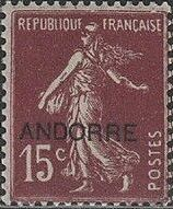 "Andorra-French 1931 Type ""Semeuse"" of France Overprinted ""ANDORRE"""