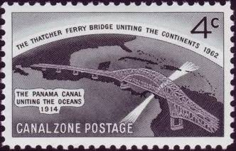 Canal Zone 1962 Opening of the Thatcher Ferry Bridge, Spanning the Panama Canal