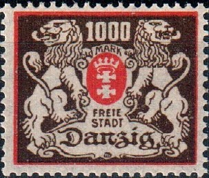 Danzig 1923 Coat of Arms of Danzig and Lions c.jpg