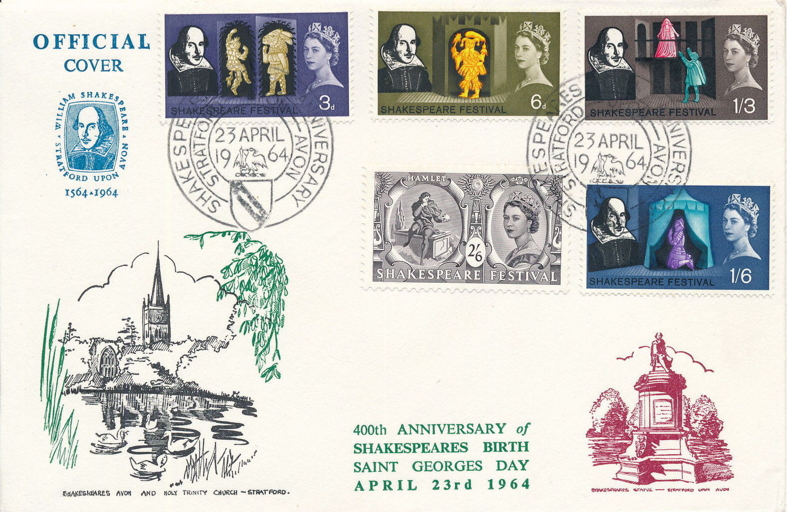 Great Britain 1964 400th Anniversary of the Birth of William Shakespeare FDCc.jpg