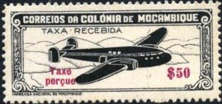 "Mozambique 1947 Airplane over Mountainous Region with ""Taxe Perçue"""