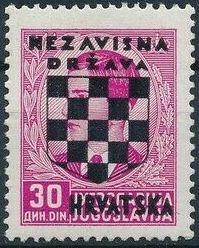 Croatia 1941 Peter II of Yugoslavia Overprinted in Black o.jpg