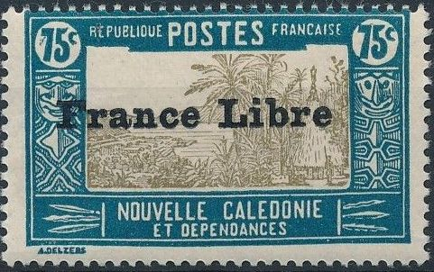 """New Caledonia 1941 Definitives of 1928 Overprinted in black """"France Libre"""" s.jpg"""