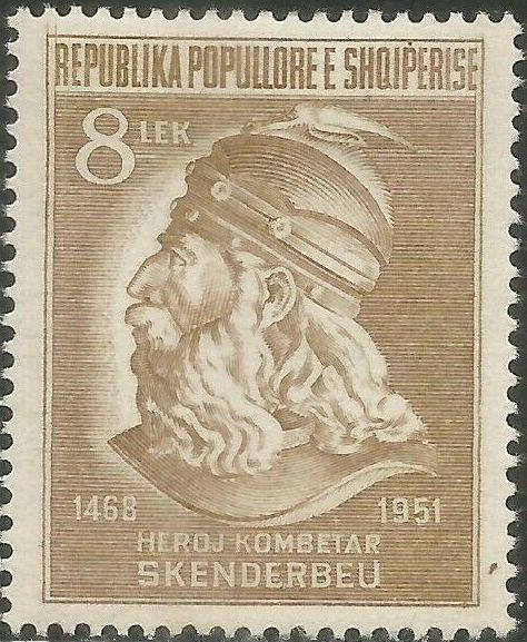 Albania 1951 483rd Anniversary of the Death of George Castriota (Skanderbeg) c.jpg