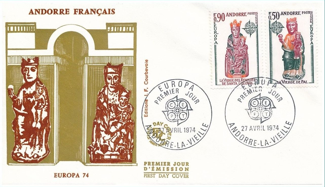 Andorra-French 1974 - Europa - Sculptures FDCc.jpg