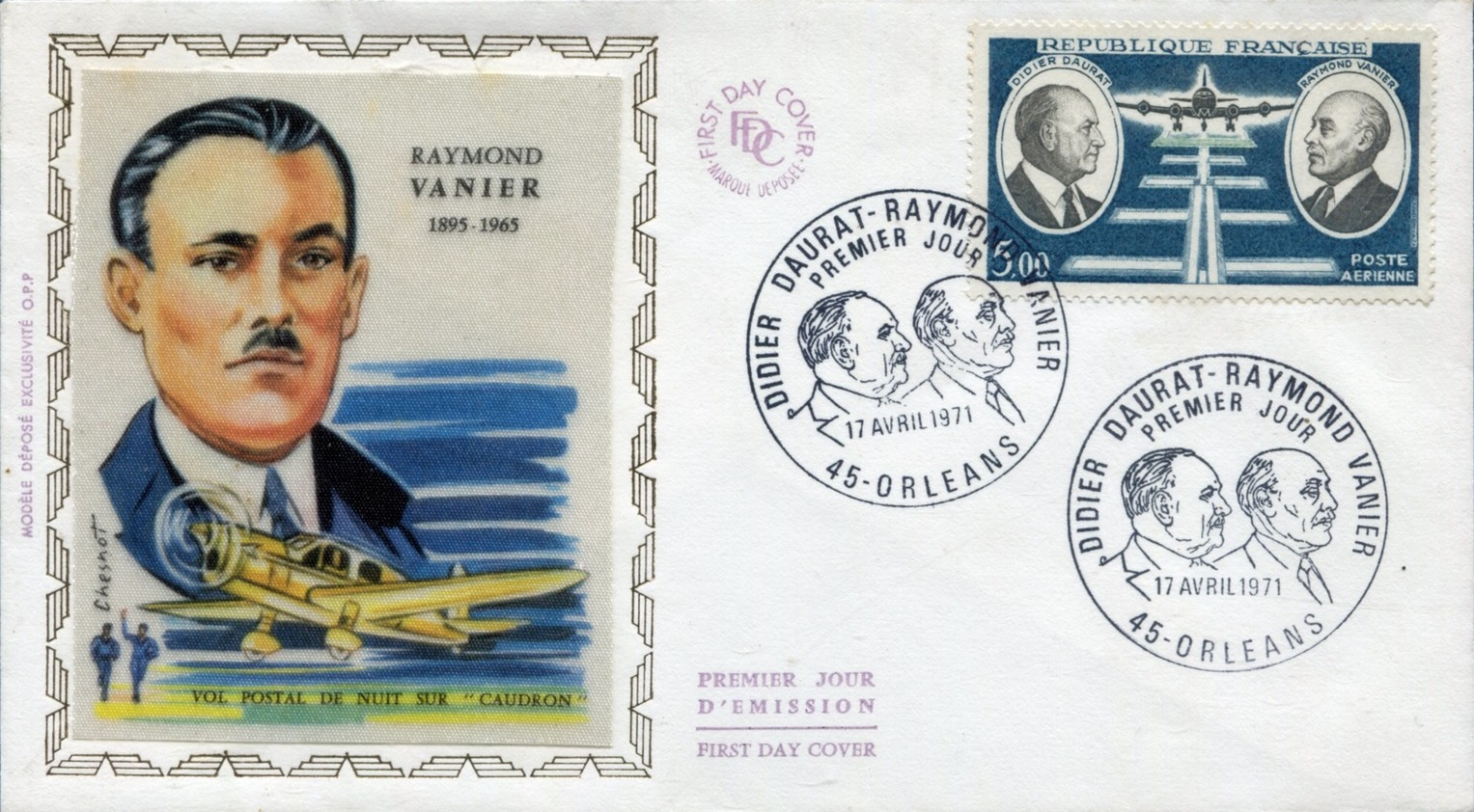 France 1971 Didier Daurat and Raymond Vanier Aviation Pioneers FDCe.jpg