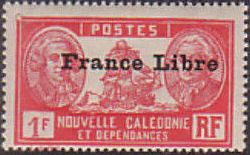 """New Caledonia 1941 Definitives of 1928 Overprinted in black """"France Libre"""" w.jpg"""