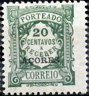 Azores 1922 Postage Due Stamps of Portugal Overprinted (1st Group)
