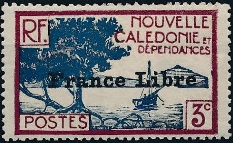 "New Caledonia 1941 Definitives of 1928 Overprinted in black ""France Libre"" c.jpg"