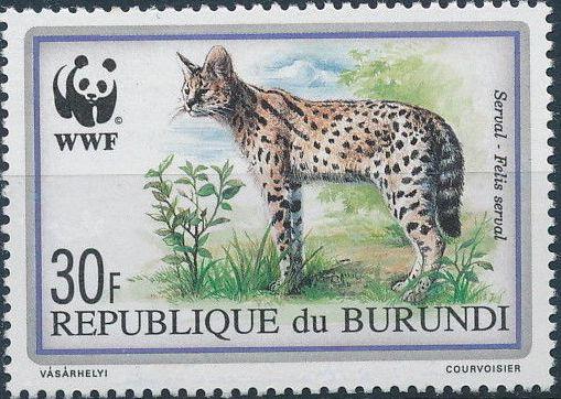 Burundi 1992 WWF Leptailurus serval