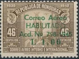Honduras 1945 Air Post Stamps of 1937-1939 Surcharged h.jpg